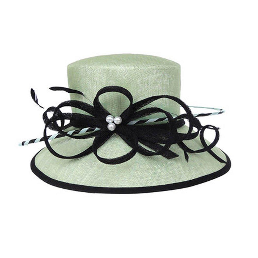 Womens Fascinators Wide Brim Sinamay Fedora Kentucky Derby Sun Flat Top Hats
