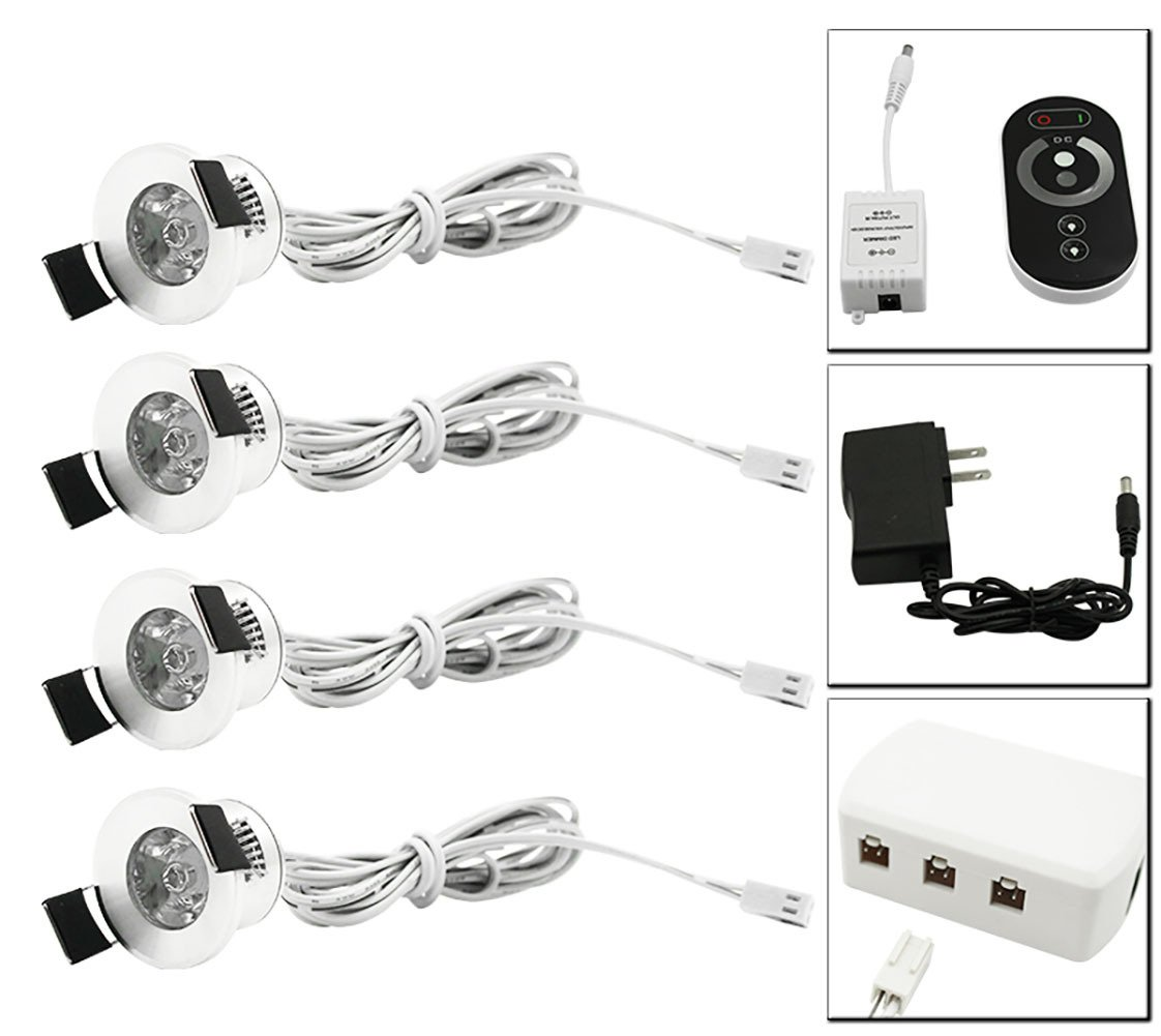 LEDIARY LED Under Cabinet Lights Dimmable 12V Recessed Spotlights with Wireless RF Remote Control Dimmer & UL Listed Power Plug & Six Holes Connect Box,4 Pack Cold White Lamp