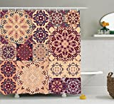 shower tile design ideas Ambesonne Moroccan Shower Curtain, Large Colorful Vintage Ceramic Tiles Arabesque Authentic Design Floral Forms, Fabric Bathroom Decor Set with Hooks, 75 Inches Long, Peach Orange Red