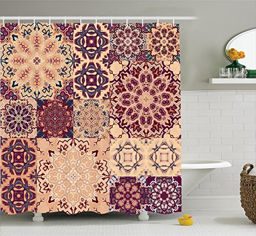 Ambesonne Moroccan Shower Curtain, Large Colorful Vintage Ceramic Tiles Arabesque Authentic Design Floral Forms, Fabric Bathroom Decor Set with Hooks, 75 Inches Long, Peach Orange Red (Vintage Tile Ceramic)