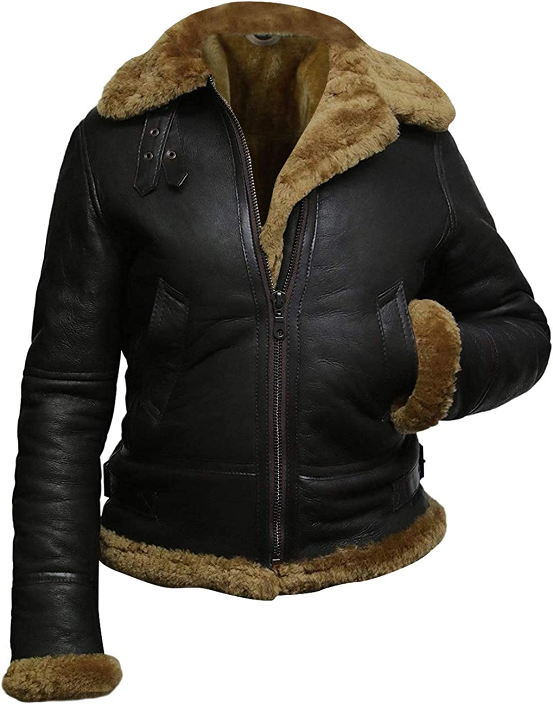 III-Fashions B3 Fur Womens Genuine Leather Aviator Flight Sheepskin Shearling Flying Pilot Bomber Brown Leather Jacket