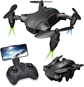 Ponacat Foldable GPS Drone with 4K High-Definition FPV WiFi Camera, Quadcopter with Brushed Motor, Auto Return Home, 3D Flip FPV Video Recording, Long Control Range