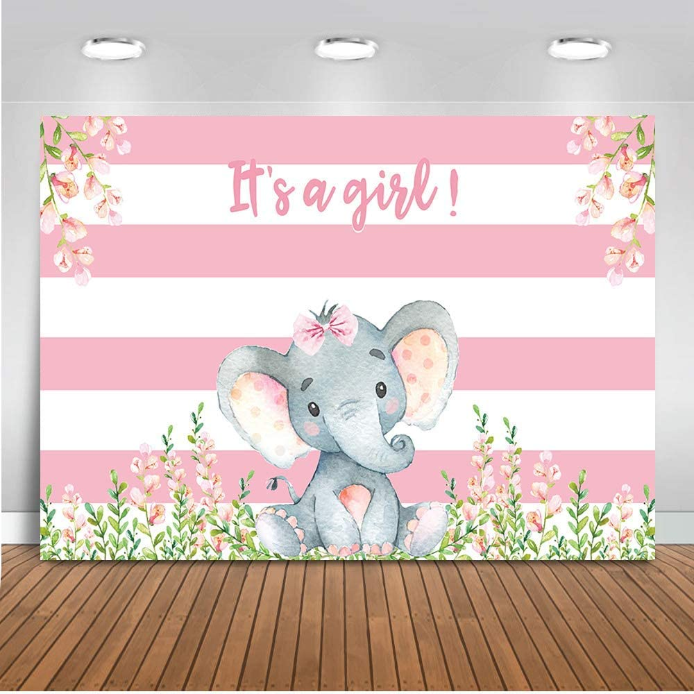 10x10ft Cartoon Cute Calf Elephant Tropical Leaves Pink Striped Backdrop Vinyl Girl Baby Shower Photography Background Child Baby Bday Party Banner Cake Smash 1st Birthday Photo Shoot