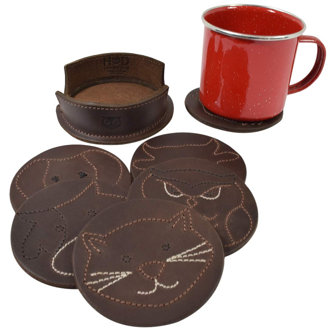Handmade Includes 101 Year Warranty :: Bourbon Brown 6-Pack Hide /& Drink Durable Thick Leather Wilderness Set//Animal Farm Classic Shaped Coasters