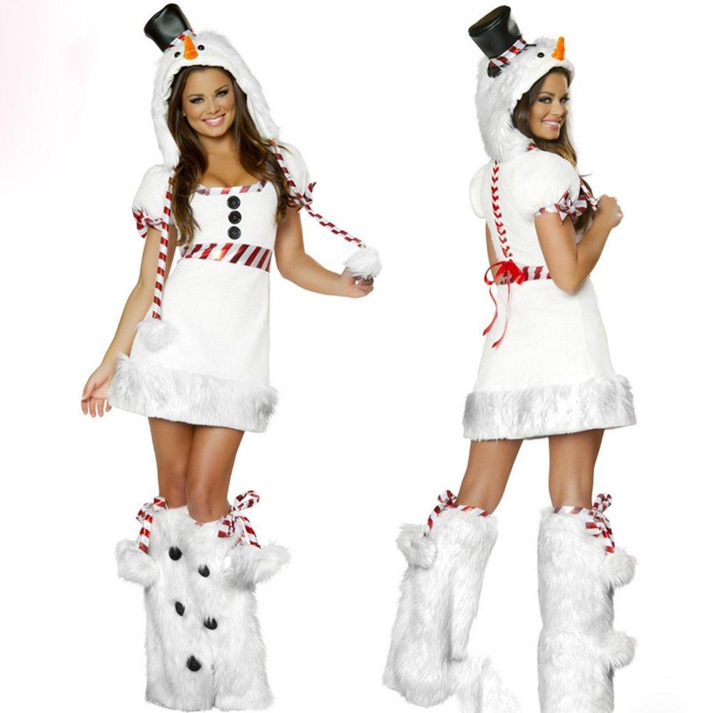 MissFox Mujer Disfraz Mu/ñeco De Nieve Navidad De La Con Manga Corta Para