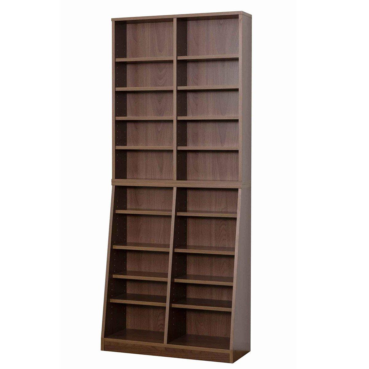 クロシオ SOHO書棚 W75 ウォールナット 幅75cm 高さ180cm DVD収納 A4本棚 B01IQRHTKC