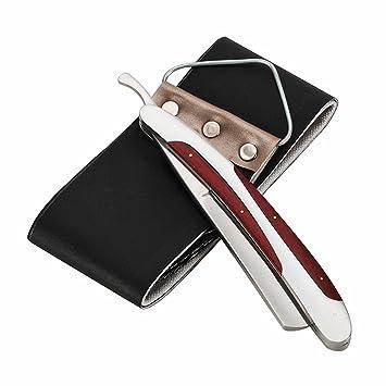 Navaja de afeitar clásica de barbero para uso personal y profesional de acero inoxidable y palisandro con asentador, de LAOYE