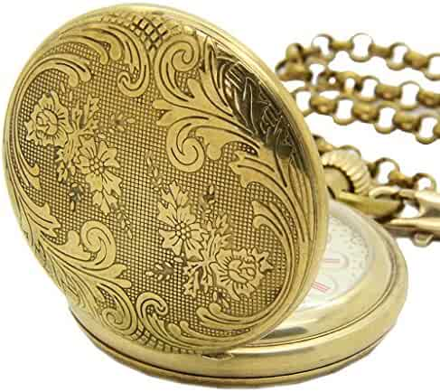 E-future Antique Pure Brass Steampunk Unisex Gold Chain Mechanical Pocket Watch