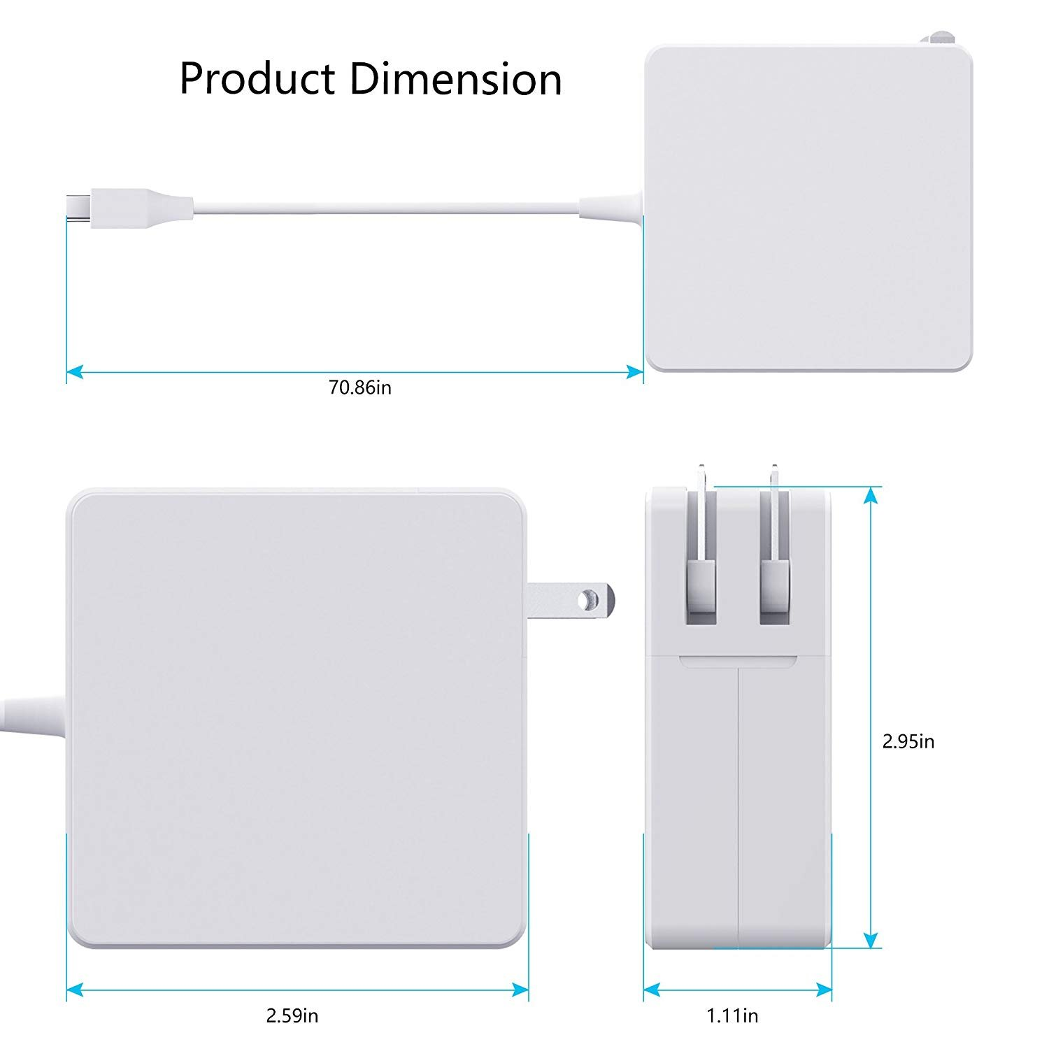 61W USB C Power Adapter With USB-C to USB-C Charge Cable for Apple Macbook Pro 13'',12'',iPad Pro,HTC 10,Nexus 5X/6P, LG G5,Pixel C,HP Spectre,Moto Z,Google Pixel 2/2 XL, Nintendo Switch and More by Elflight (Image #3)
