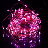 HAHOME 33FT 100 Leds Copper Wire Starry String Lights Pink,Includes Power Adapter,Decorate for Christmas, Party, Wedding, Holidays, Easter day, Valentine's Day