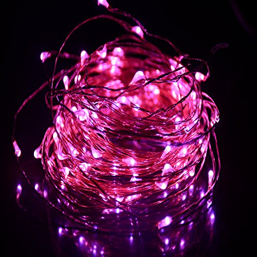 HAHOME Waterproof Led String Lights,33Ft 100 LEDs Indoor and Outdoor Starry Lights with Power Supply for Christmas Wedding and Party (Pink String Lights)