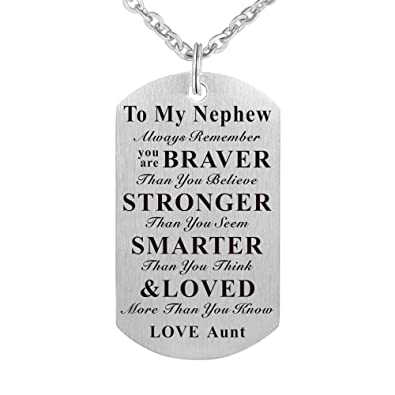 Kisseason To My Nephew Birthday Gift Jewelry Dog Tag Keychain Pendant Necklace From Aunt