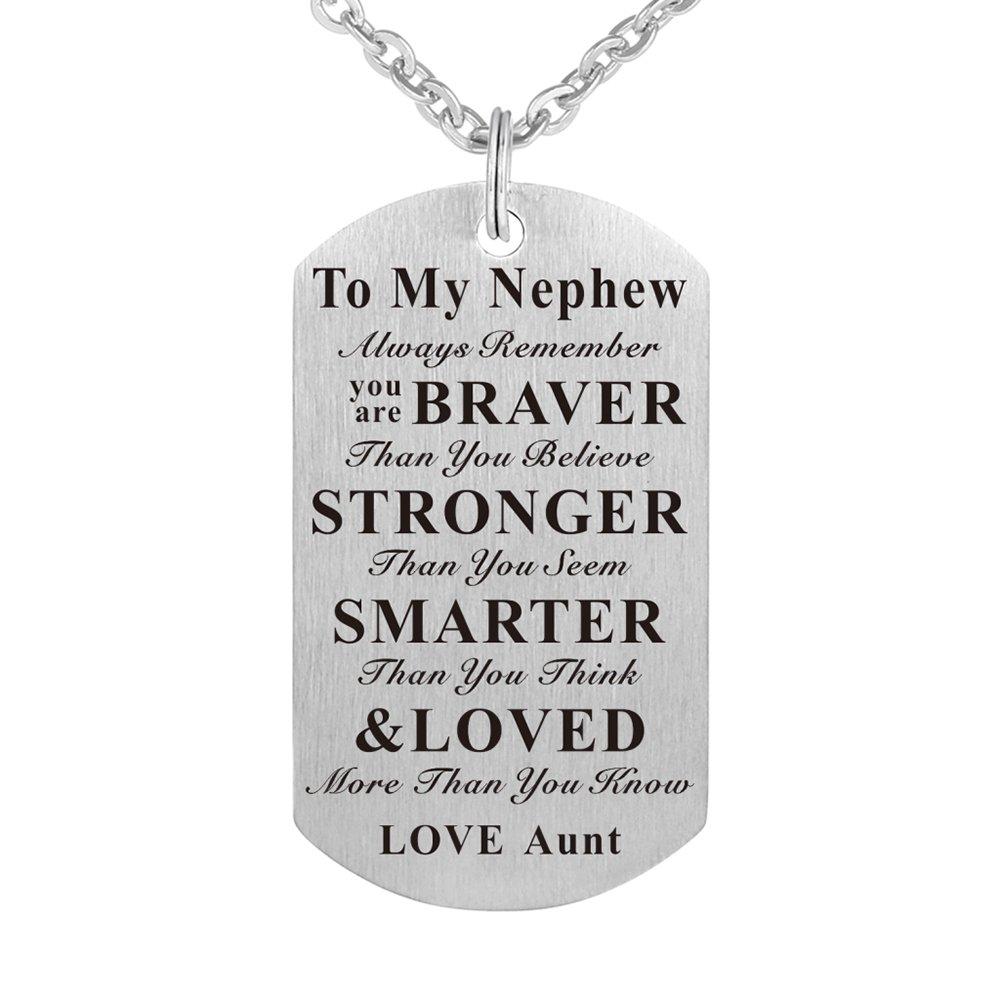 Kisseason To My Nephew Birthday Gift Jewelry Dog Tag Keychain Pendant Necklace From Aunt