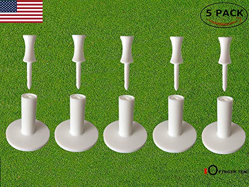 FINGER TEN Golf Rubber Tee Driving Range Value 5 Pack for Indoor Outdoor Practice Mat, Tee Adaptor Size 1.5