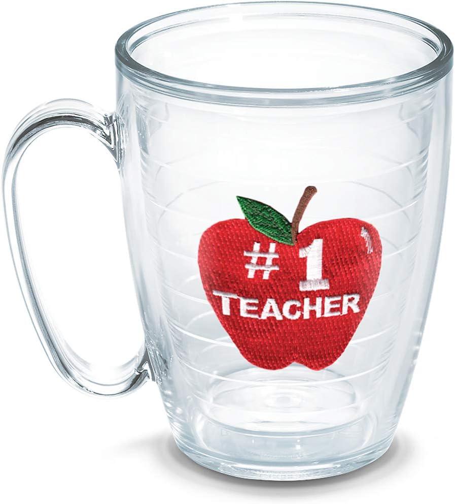 Tervis #1 Teacher-Apple Insulated Tumbler with Emblem, 16oz Mug, Clear