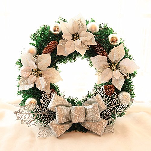 Christmas Garland for Stairs fireplaces Christmas Garland Decoration Xmas Festive Wreath Garland with Christmas silver Christmas rattan wreath,60cm