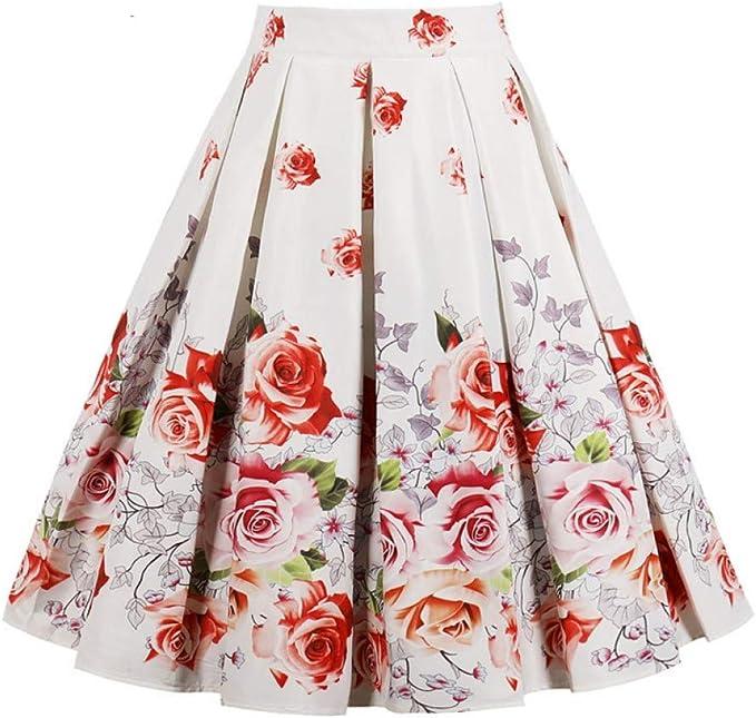 GYYWAN Rosa Estampado De Flores Faldas Vintage para Mujer Floral ...