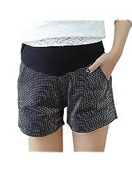 Aivtalk Women's Maternity Casual Elastic Waist Denim Shorts Pockets Pants Gray
