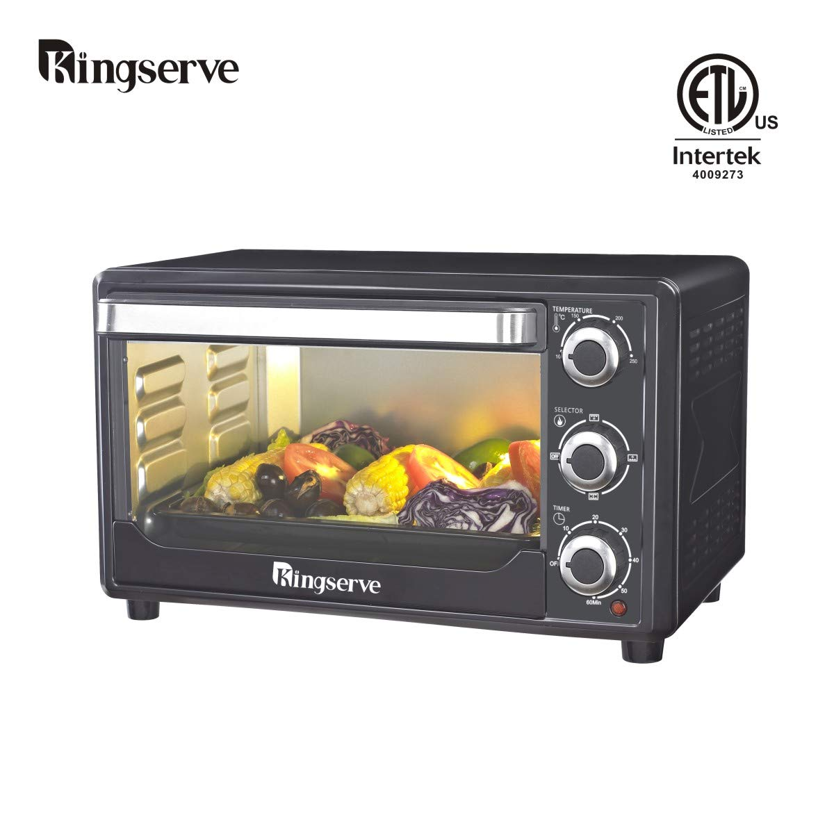 KingServe Convection Toaster Oven,Modern Best Toaster Convection Countertop Oven Bake Pizza Oven,Stainless Steel Toaster Bake Broiler Kitchen Counter Oven(Black)