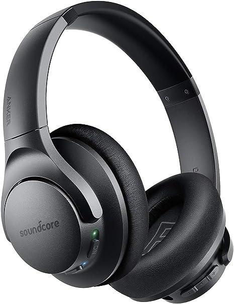 Auriculares Bluetooth Diadema Soundcore Life Q20, cancelación de ruido activa, 30 horas de reproducción, graves profundos, Auriculares inalámbricos Over Ear y almohadillas de espuma viscoelástica