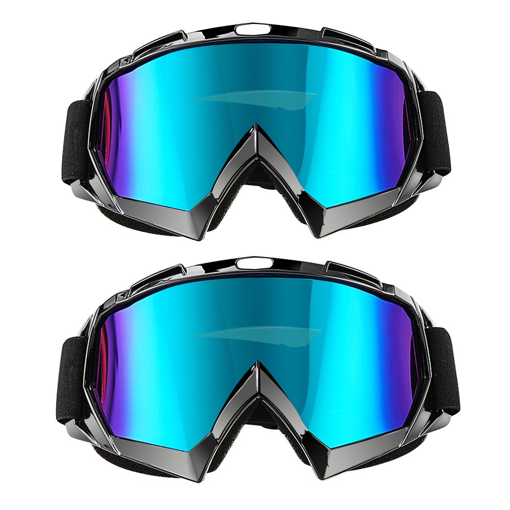2 Pack 2 Pack Black Frame Colorful Len Carperipher Ski Goggles Snowboard Goggles Motorcycle Goggles Helmet Compatible Motorbike Motocross Dirt Bike Cycling ATV Racing Safety Goggles