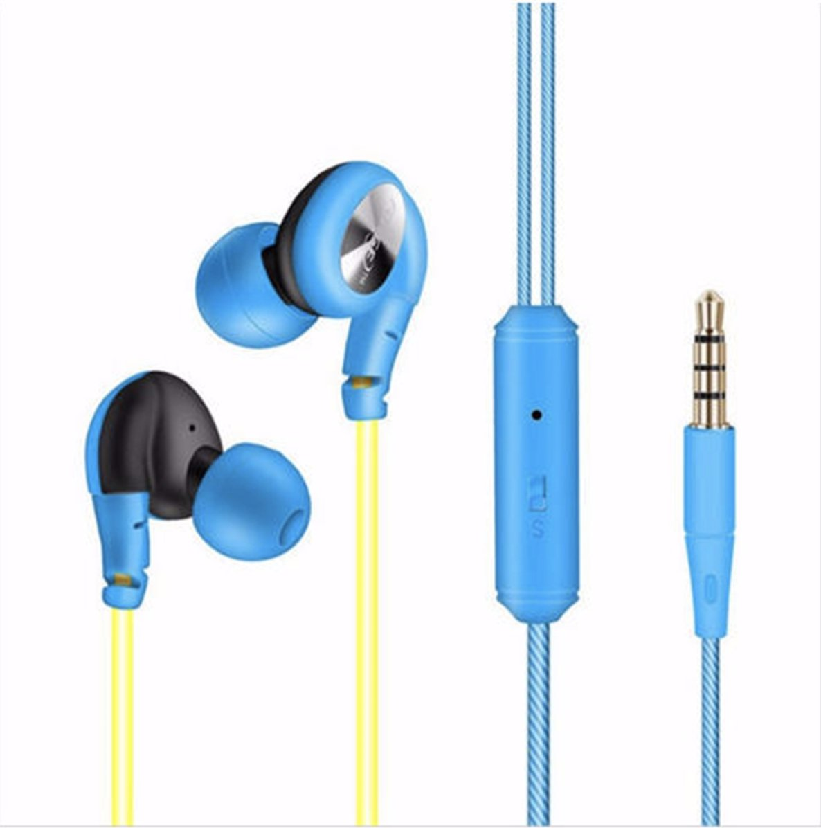Waterproof Sweatproof Sports Wired Loop-Over Earbuds Earphones with 3.5mm Plug and Mic – HiFi Super Clear Sound for Smartphone, iPhone, iPad, Galaxy, Laptop Computers, Running, Exercise, Gym
