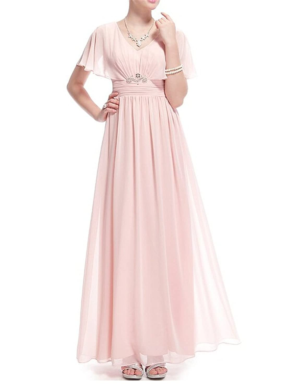AngelDragon Elegant Capelet Ruched Waist Gowns Maxi Rhinestones Party Dress