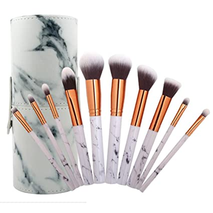 0c0785421690 Coshine 10pcs Pro Marble Makeup Brush Set with Marble Brush Holder, For  Loose Powder, Contour, Shade, Highlighter, Eyeshadow and Foundation