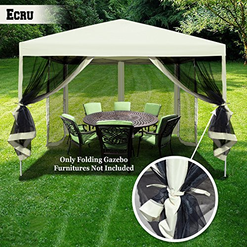 BenefitUSA Easy Pop Up Canopy Tent 10′ x10′ Gazebo Sun Shade Shelter with Mesh Side Walls Screen House (Ecru)