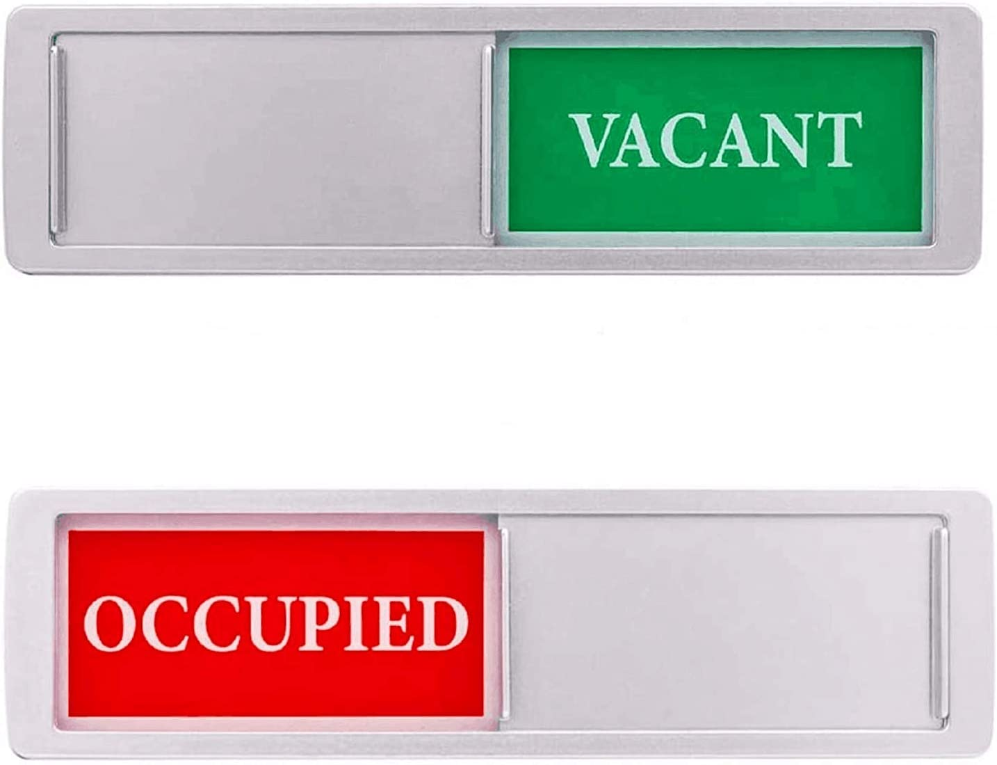 Privacy Sign, Vacant Occupied Sign for Home Office Bathroom Restroom Conference Hotels Hospital, Privacy Slide Door Sign Indicator Tells Whether Room Vacant or Occupied, 7'' x 2'' - Silver