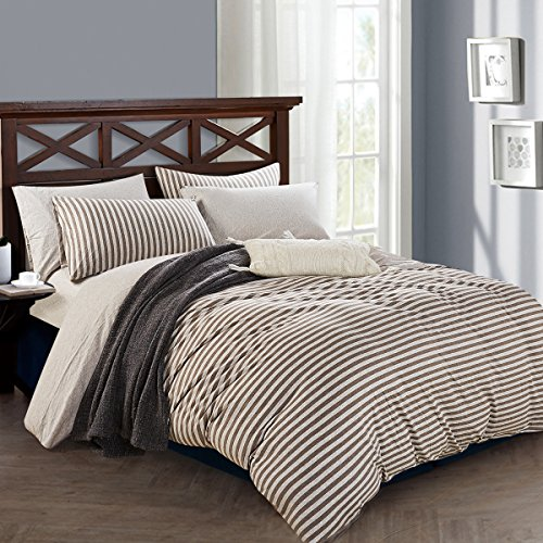 (PURE ERA Striped Duvet Cover Set Cotton Jersey Knit Super Soft Comfy Breathable Luxury Reversible 3 PCs Bedding Sets 1 Duvet Cover and 2 Pillow Shams - Brown Grey Queen)
