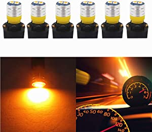 WLJH W5W Bulb Interior Dashboard Dash Lights Instrument Cluster T10 Led 194 2825 168 Twist Socket PC195 PC194 PC168 Lamp 200 Lumen Super Nice Bright (Yellow,Pack of 6)
