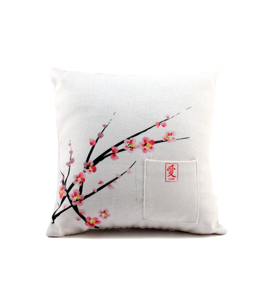 Weddingstar Cherry Blossom Square Ring Pillow - Entire cherry blossom collection available 8-inch by 8-inch Cotton linen fabric - living-room-soft-furnishings, living-room, decorative-pillows - 61zQ6T1JkeL -