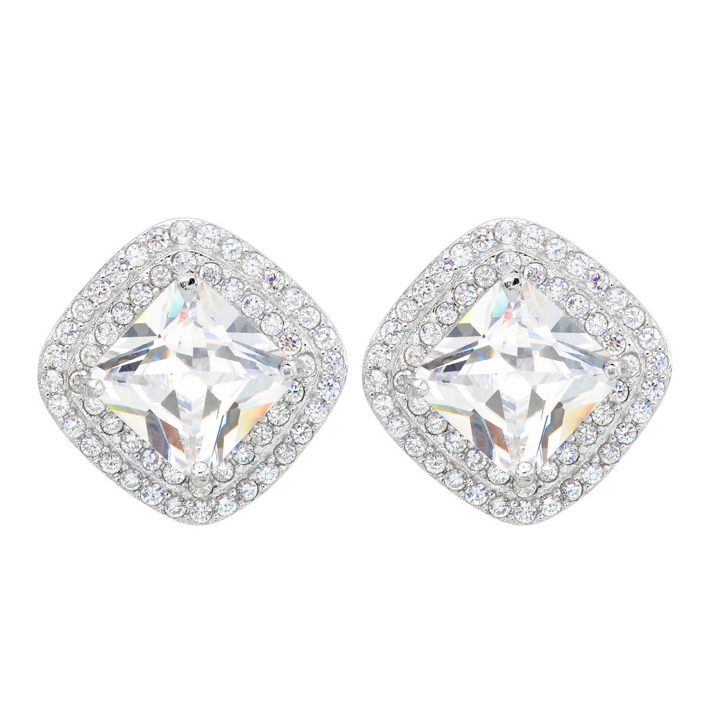Ever Faith Women's 925 Sterling Silver CZ Elegant Square Halo Stud Earrings Clear N08142-1