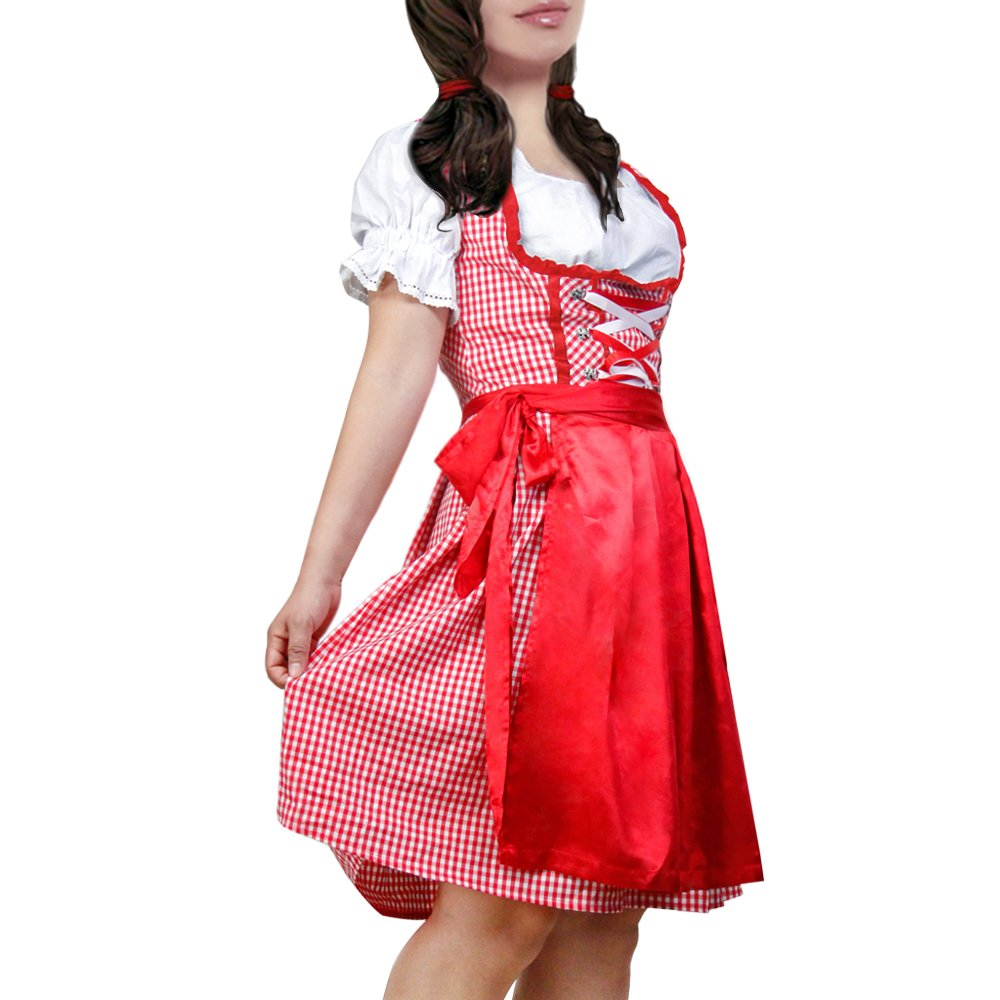 1940s Costumes- WW2, Nurse, Pinup, Rosie the Riveter DJT Womens 3 Pcs Dirndl Serving Wench Bavarian Beer Girl Oktoberfest Adult Costume $35.99 AT vintagedancer.com