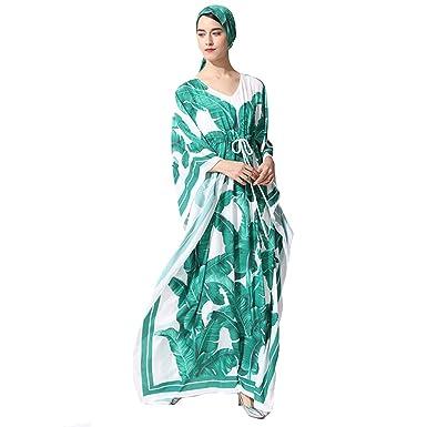 Leaf Print Tie Waist Loose Dresses V Neck Oversize with Scarf 2 Piece for  Ladies (Color   Green 1617be8af