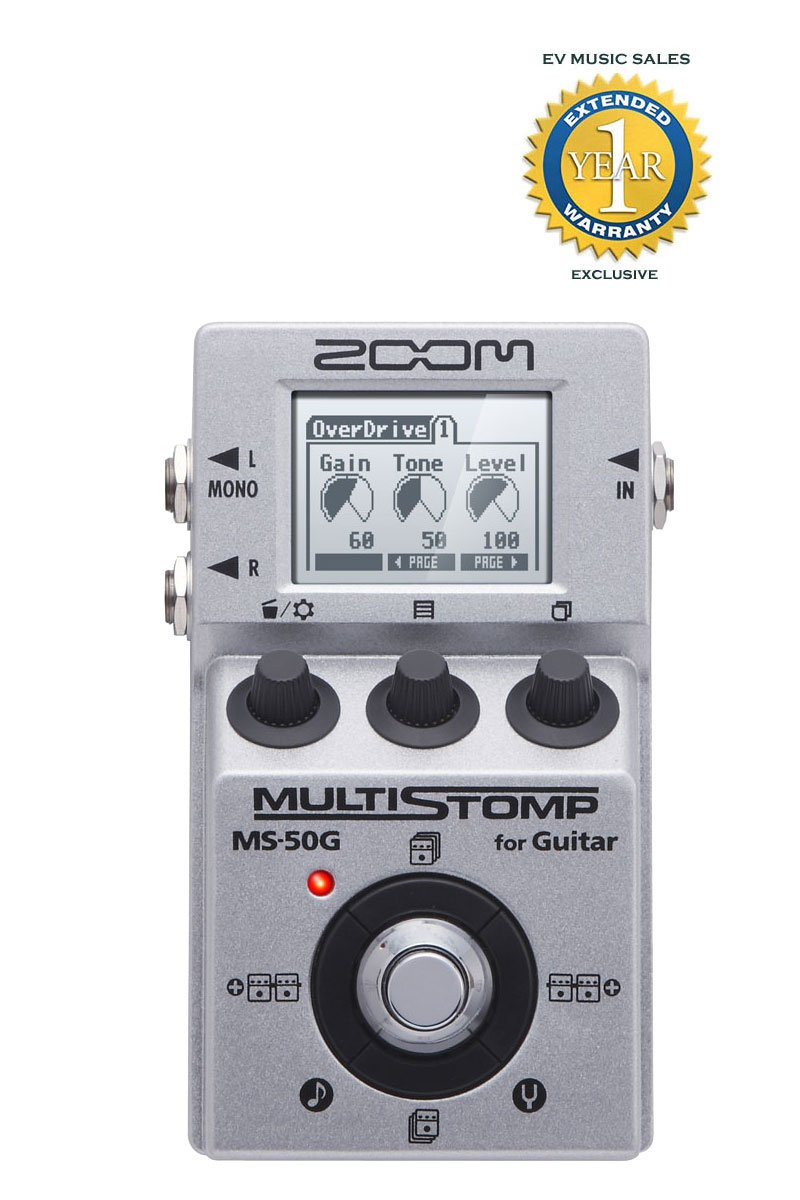 Zoom MS-50G Multistomp Guitar Pedal with 1 Year Free Extended Warranty