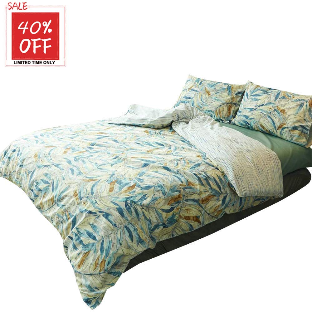E floral Full Queen mixinni Luxury Bedding 3 Pieces bluee Grey Duvet Cover Set King Triangle Pattern Reversible Design with 100% Soft Cotton, Breathable Hypoallergenic Durable with Zipper Ties