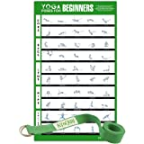 """Avocadu Yoga Poses for Beginners Poster with 6' Yoga Strap Included- Premium 16""""x 24"""" Poster with Illustrated Yoga Flow Poses for Easy Home Workouts"""