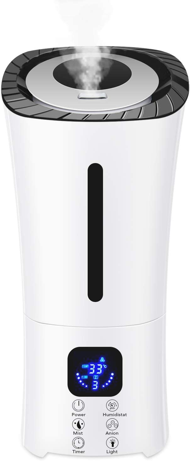 PexFix Ultrasonic Humidifier, 3.8L Cool Mist Humidifier Whisper Quiet Waterless Auto Shut Off with Night Light, Dual 360° Outlets, Digital Touch