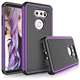 LG V30 Case, LG V30 Plus Cute Cover, Tekcoo [Tmajor] Shock Absorbing [Purple] Hybrid Combo Rubber Silicone & Plastic Scratch Resistant Sturdy Bumper Rugged Sturdy Grip Hard Protective Cases