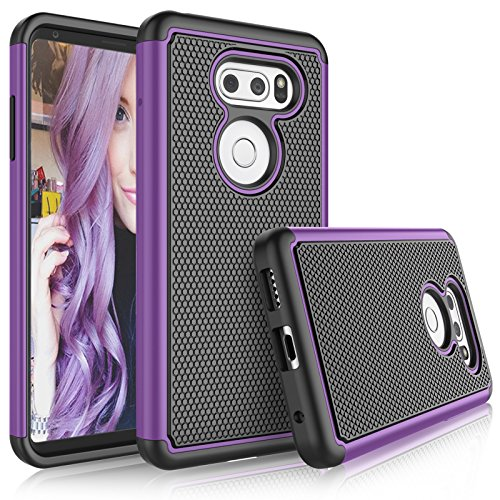 LG V35 ThinQ/LG V30S ThinQ Case, LG V30 / LG V30 Plus Cute Case, Tekcoo [Tmajor] Shock Absorbing [Purple] Combo Rubber Silicone & Plastic Scratch Resistant Bumper Sturdy Grip Hard Cover Cases