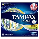 Tampax Pearl Plastic Tampons, Multipack, with Light/Regular/Super Absorbency, Unscented, 34 Count - Pack of 6 (204 Total Count)