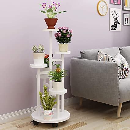 Flower stand ZHILIAN& Creative Multi-layer Solid Wood Simple Floor