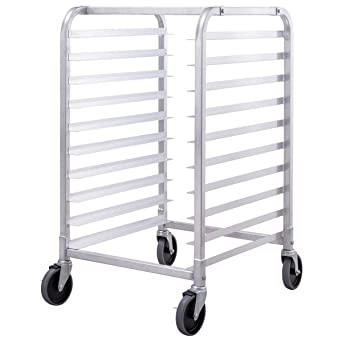 COLIBROX--10 Sheet Aluminum Bakery Rack Rolling Commercial Cookie Bun Pan  Kitchen New  commercial bakers rack with wheels  bakery equipment for sale