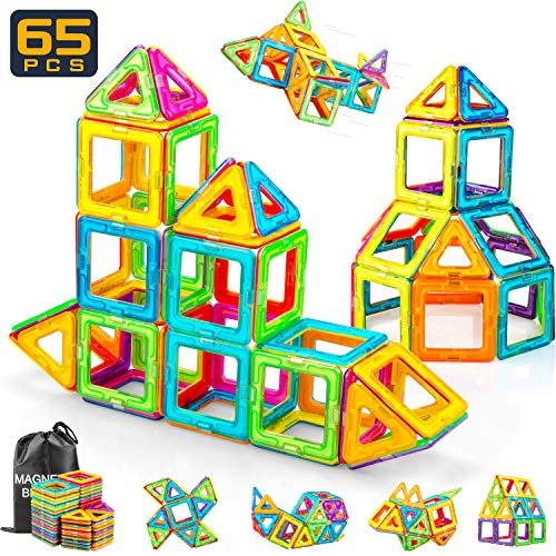 RADCLO Magnetic Blocks, Magnetic Tiles STEM Preschool Educational Construction Kit, 65 Piece Magnetic Building Blocks Set Magnetic Tiles Educational Toys for Kids (Educational Tiles)