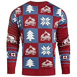 Colorado Avalanche NHL 2016 Patches Ugly Crewneck Sweater - Size Medium
