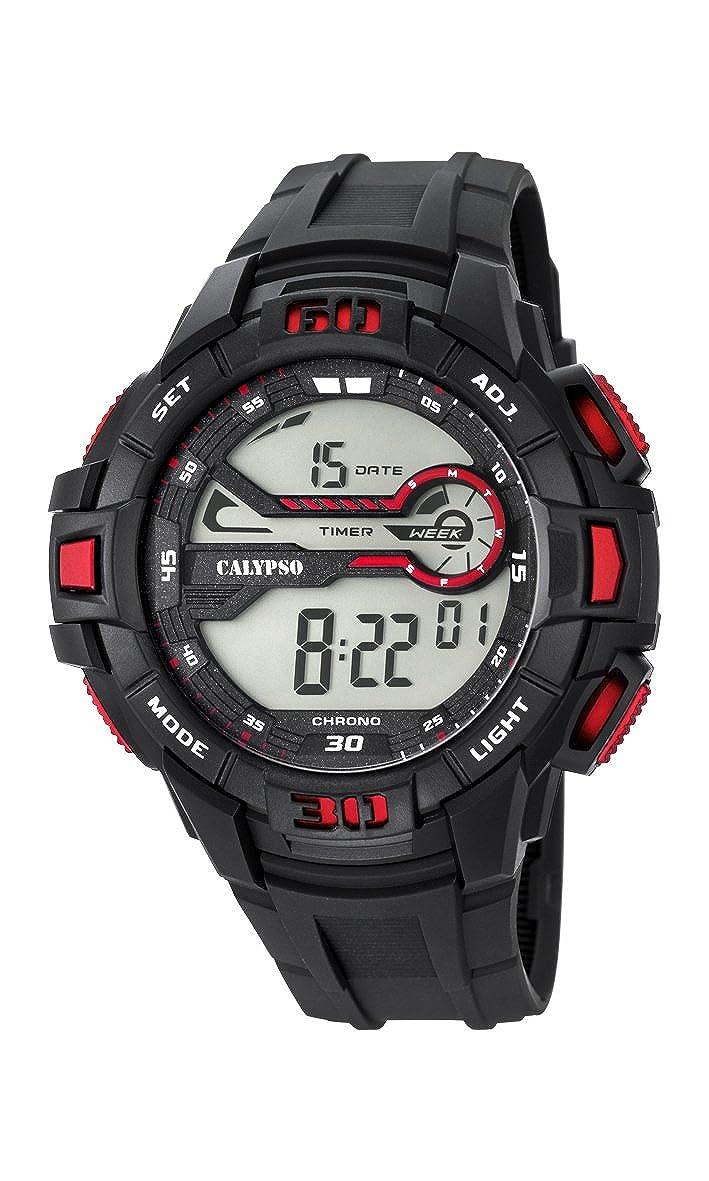 Calypso Hombre Reloj Digital con Pantalla LCD Pantalla Digital Dial y Correa de plástico en Color Negro k5695/5