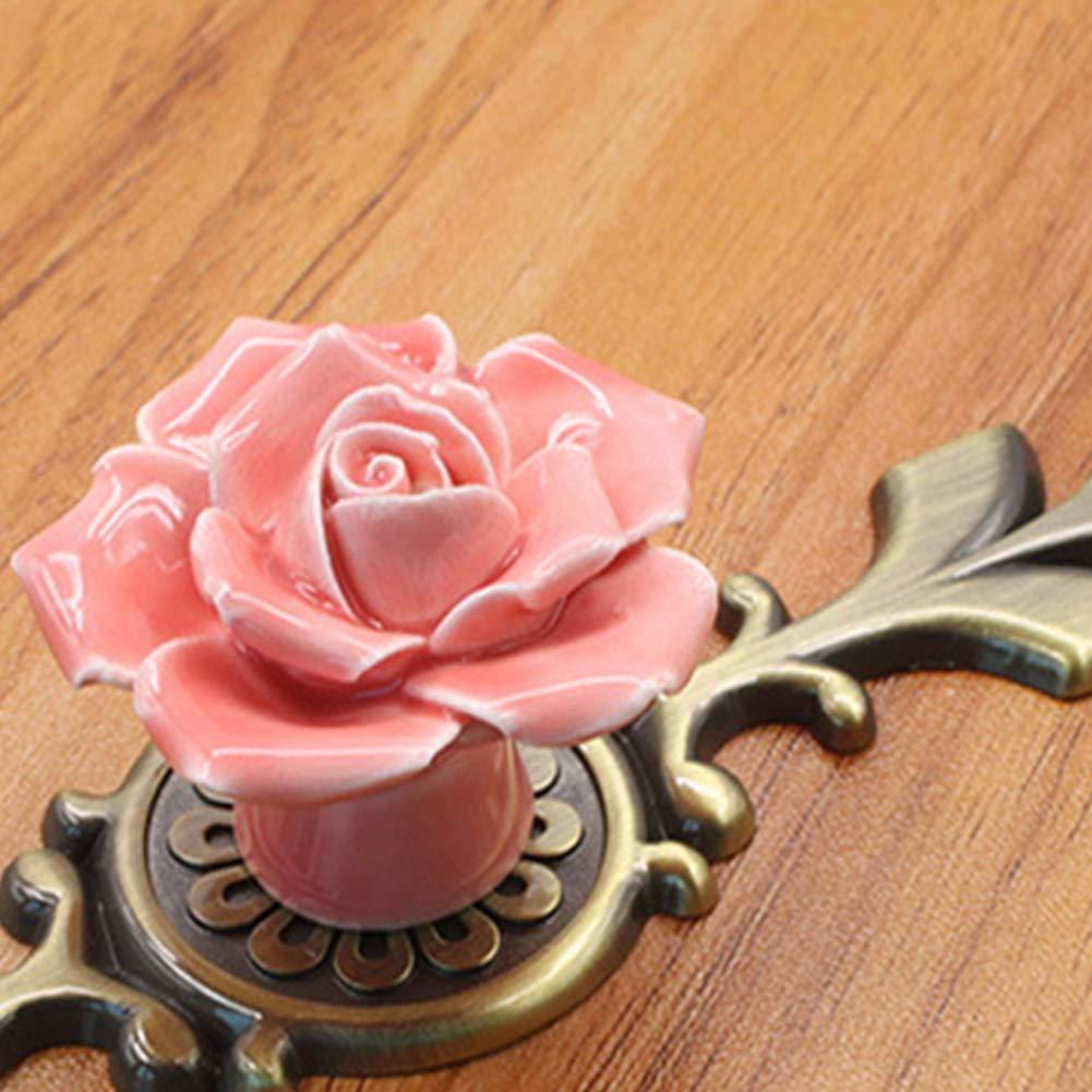 pour Placard de Cuisine Commode tiroir DierCosy Lot de 2 poign/ées de tiroir en c/éramique avec Base en Bronze d/écoration de Meubles de Maison 16,7 x 3,4 x 3,8 cm