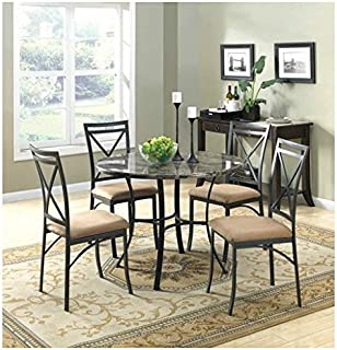 New Classic Elegant Mainstays 5-Piece Faux Marble Top Dining Set Marble Look Dining Set  sc 1 st  Amazon.com & Amazon.com - Dorel Living Faux Marble Top Dining Table Set - Table ...